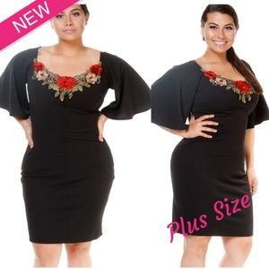 Dresses & Skirts - Plus Size Floral Embroidered Dress - 2X